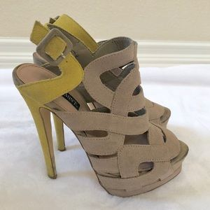 suede caged heels